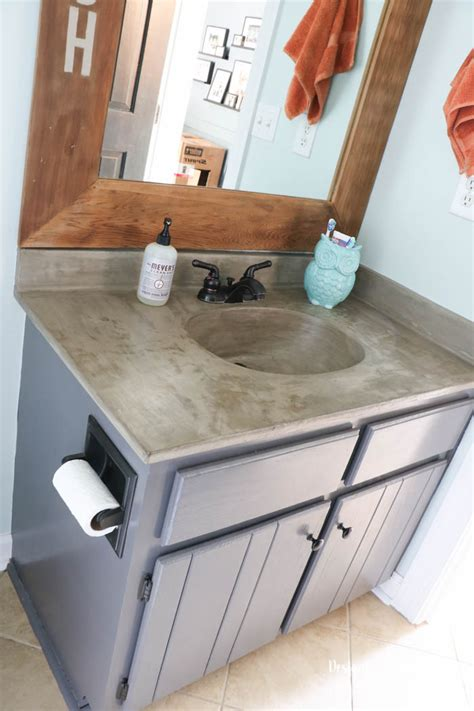diy concrete bathroom sink remodelaholic diy concrete countertop reviews
