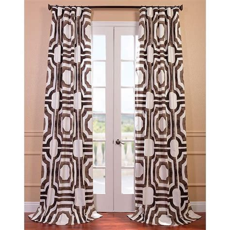 White And Brown Curtains Mecca Printed Cotton Brown And White Curtain Panel