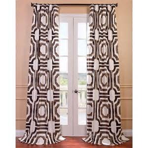 Brown And White Curtains Mecca Printed Cotton Curtain Panel Overstock