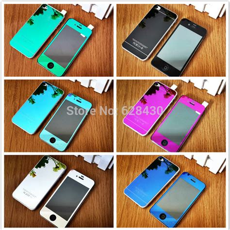 Colorful Mirror Tempered Glass For Iphone 44s55s66 venda quente front espelho colorido premium real de vidro temperado protetor de tela para iphone
