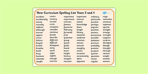 new year word bank new curriculum spelling list years 3 and 4 word mat new