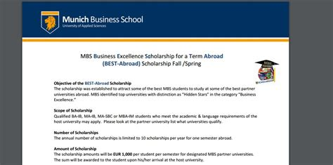 Mbs Mba Scholarships by Mbs Business Excellence Scholarship For A Term Abroad 2017