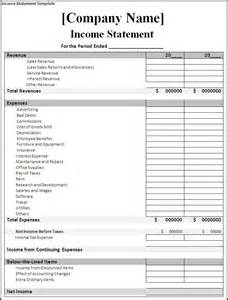 income statement template word excel formats