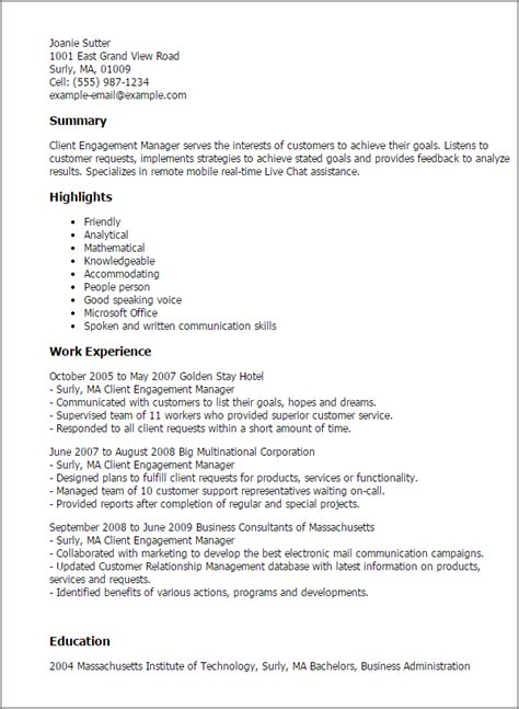 Client Engagement Manager Sle Resume by Professional Client Engagement Manager Templates To Showcase Your Talent Myperfectresume