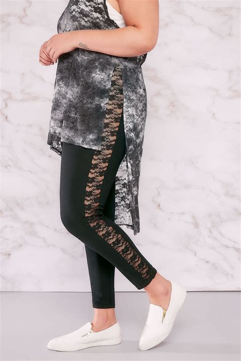 Legging Tosca Limited 1 limited collection black with lace panels plus size 16 to 32