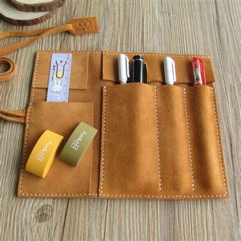 Rapha Large Leather Pouch Dny aliexpress buy highquality handmade largespace school pencil genuine suede leather