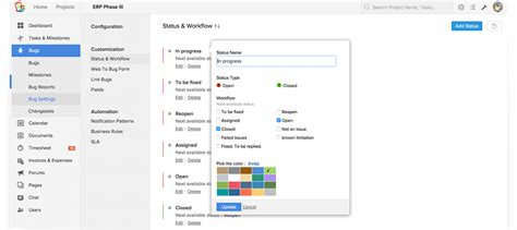 custom workflows issue management software bug tracking