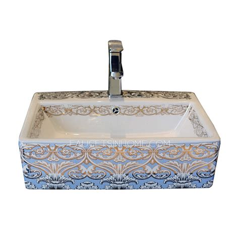 Bowl Sink Faucets by Light Blue Rectangle Porcelain Bath Sinks Single Bowl With