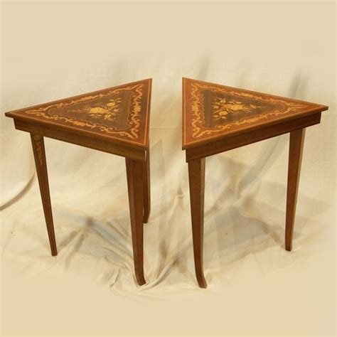 Musical Table by Pair Of Gorgeous Vintage Reuge Musical Triangle Tables In