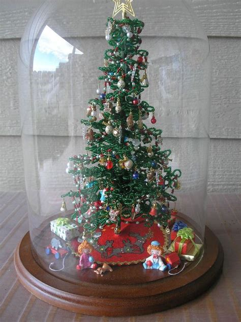 westrim beaded christmas tree under glass dome heavily