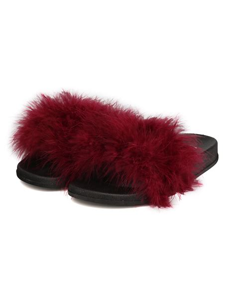 wedges fh37 cape robbin moira 2 feather fluffy open toe slip on