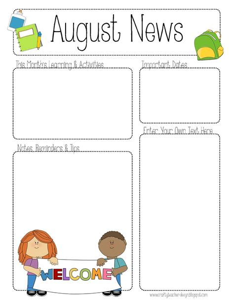 5 Best Images Of Printable Newsletter Templates For Teachers Free Printable Teacher Newsletter Daycare Newsletter Templates