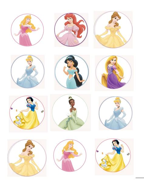 printable 12 mixed disney princess party cup cake toppers disney princess edible cup cake toppers with phrases