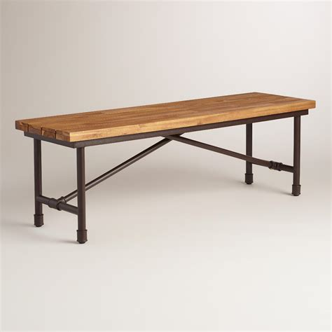 wood and metal kairi outdoor dining bench world market