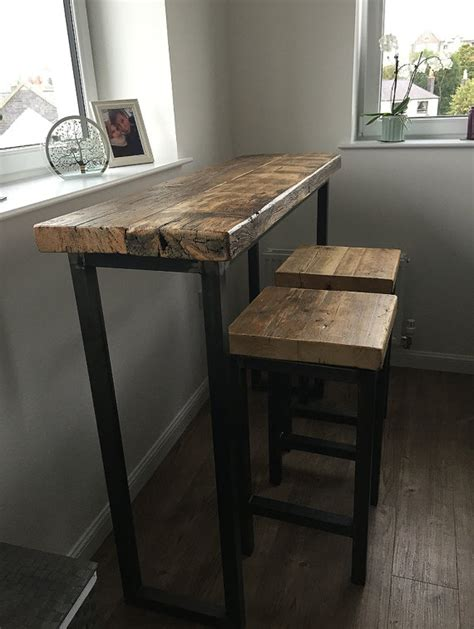 industrial kitchen furniture uk industrial style reclaimed wood breakfast bar and two stools