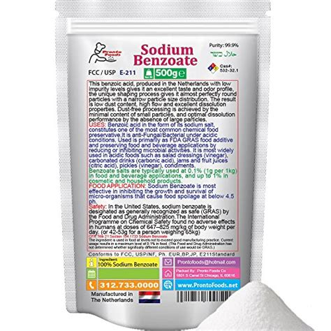Sodium Benzoat 500 Gram 500g 1 1lb 100 sodium benzoate made in the import it all