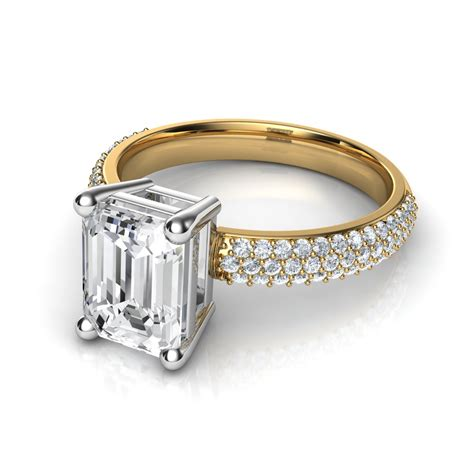 trio micro pav 233 emerald cut engagement ring in 14k
