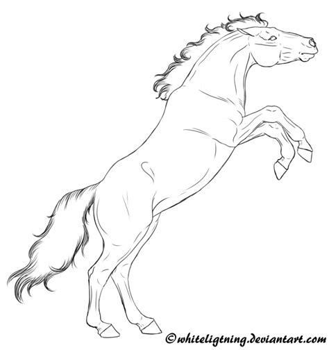 coloring pages of horses rearing free lineart rearing by whiteligtning on deviantart