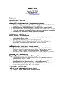 Sle Cover Letter For Insurance Claims Adjuster Insurance Claims Adjuster Resume Sle Resume Format