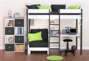uno 5 nero highsleeper with desk pullout chairbed with