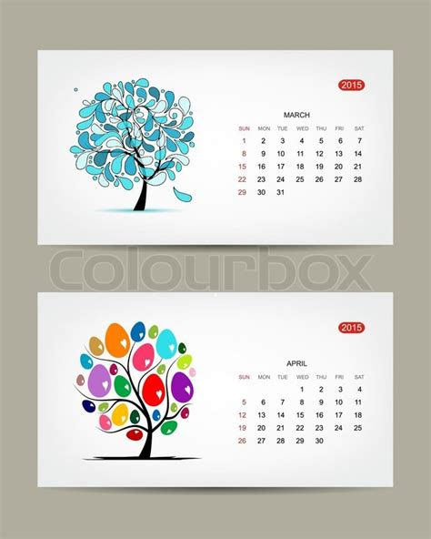 calendar greenvilleartscom vector calendar 2015 march and april months art tree