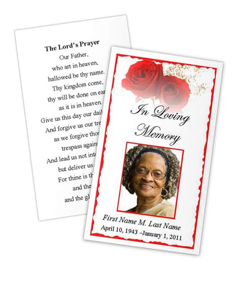 red rose prayer card template funeral card