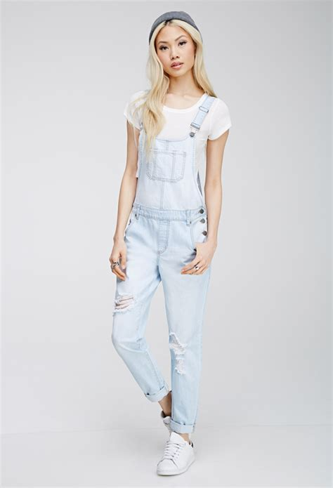 light blue denim overalls forever 21 distressed bib overalls in blue lyst