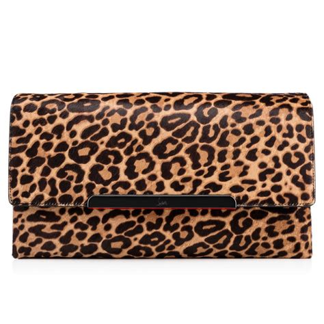 Up Of Designer Animal Print Clutch by Christian Louboutin Rougissime Leopard Print Calf Hair