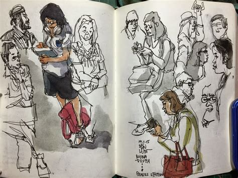 sketching people an urban sketching people on the train traffic crossing and coffeeshop urban sketchers