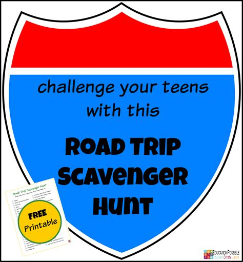 printable road trip games for tweens free road trip scavenger hunt for teens blessed beyond a