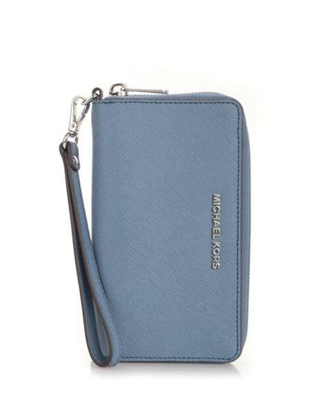 michael kors light blue wallet michael michael kors jet set light blue wallet in blue