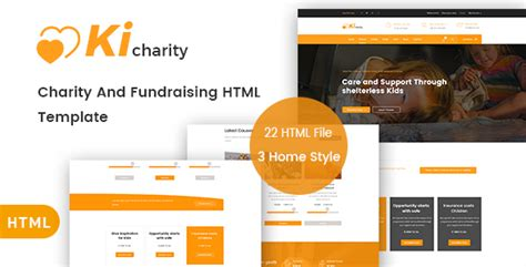 themeforest charity kicharity charity fundraising html template download
