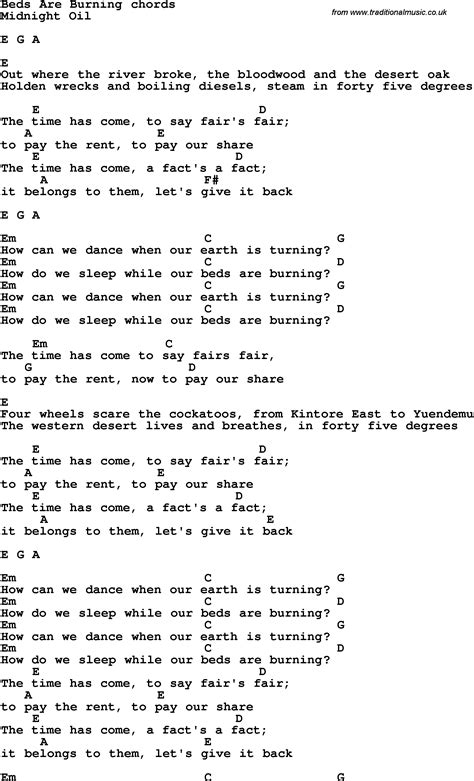 beds are burning lyrics song lyrics with guitar chords for beds are burning