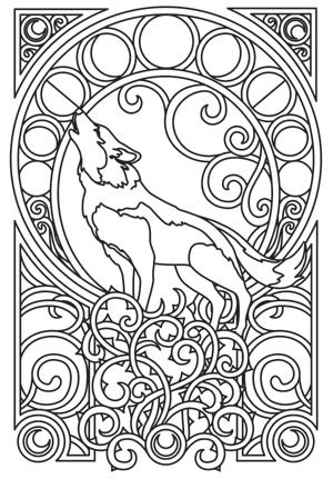 intricate wolf coloring pages a majestic wolf is framed by intricate art nouveau swirls