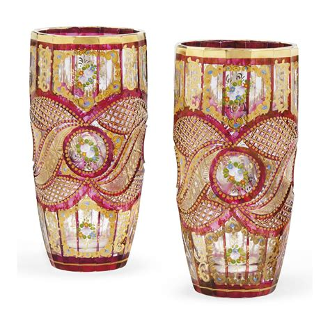 Stained Glass Vases A Pair Of Bohemian Cut And Enamelled Cranberry Stained