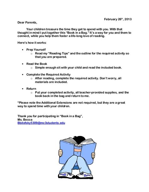 Parent Letter For Literacy Bag Book In A Bag Parent Letter