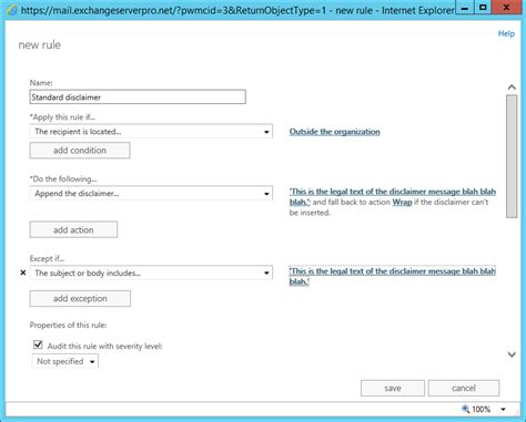 outlook rule pattern matching using exchange transport rules to add email signatures