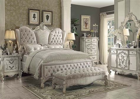 traditional king bedroom sets traditional antique ivory velvet queen king bed for luxury
