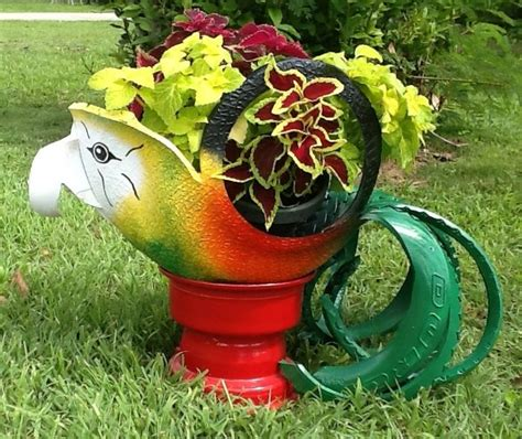 Recycled Tire Parrot Planter by 52 Best Images About Recycled Tire Planters Bird Feeders