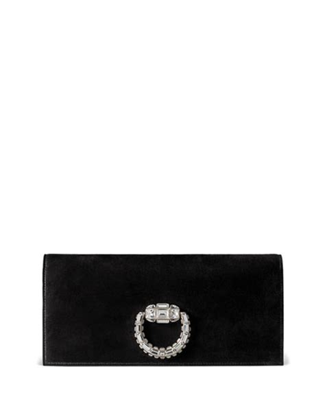 Florence Fred Black Buckle Clutch Bag by Gucci Broadway Suede Evening Clutch Bag Black
