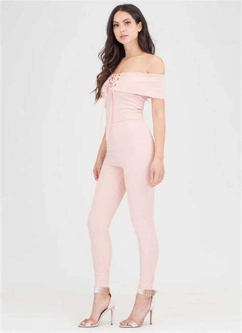 Shoulder Lace Up Jumpsuit i fold lace up shoulder jumpsuit blush gojane
