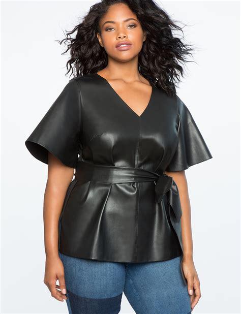 best women flare sleeve tie waist faux leather top women s plus