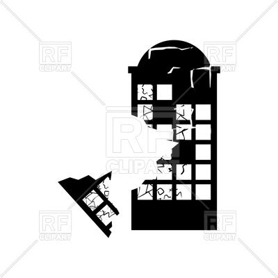 Destroyed building earthquake silhouette Vector Image ... Free Vector Food Clipart
