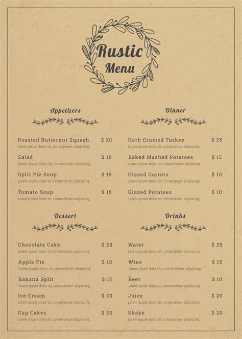 menu templates  sample  format