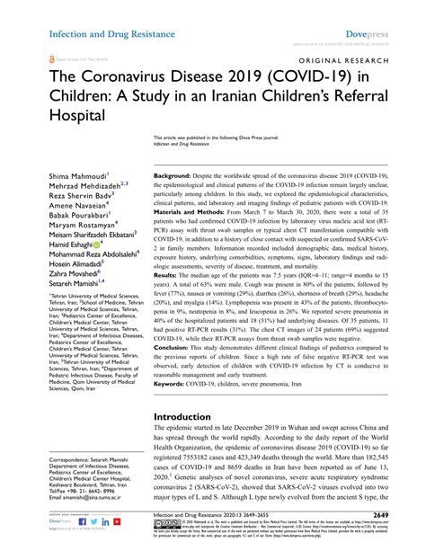 (PDF) The Coronavirus Disease 2019 (COVID-19) in Children