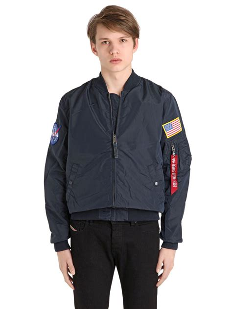 Astronot Bomber Navy alpha industries ma 1 tt nasa reversible bomber jacket in blue for lyst
