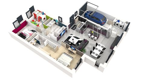 plan 3d chambre 187 maison solika