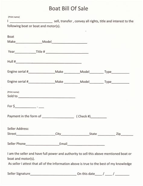 free and printable boat bill of sale form rc123 com