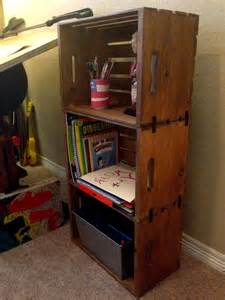 Wooden Crate Bookshelf Diy Wooden Crate Bookshelf My Crafty Spot When Life