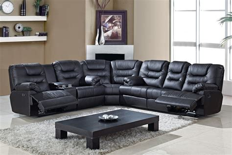 black reclining sectional sofa black leather reclining sofa set